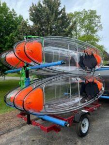 Clear bottom kayak on trailer